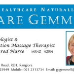 Clare Gemmell Healthcare Naturally business card